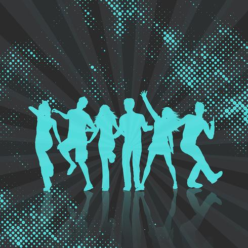Party crowd on abstract dots background