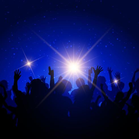 Party crowd on night sky background