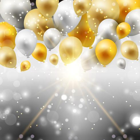 Gold and silver balloons background vector
