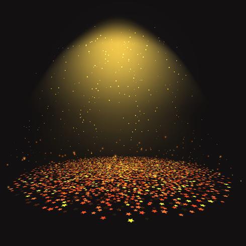 Gold star confetti under a spotlight