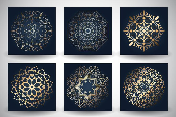 Decorative mandala style backgrounds vector