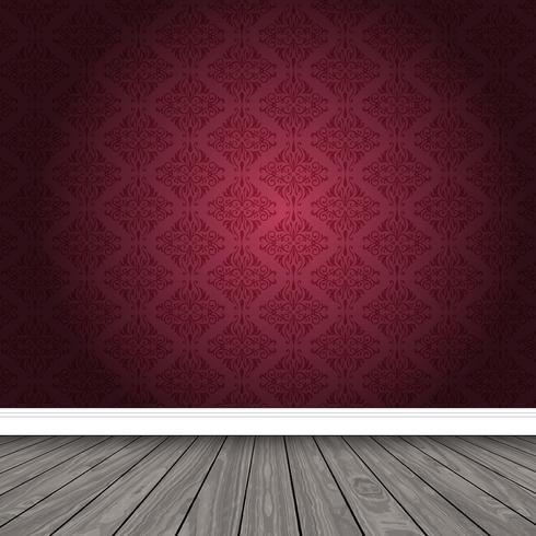 Lege ruimte met damastbehang en houten vloer