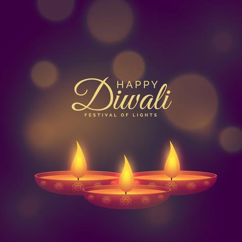 mooie illustratie van diya te branden voor diwali festival celeb