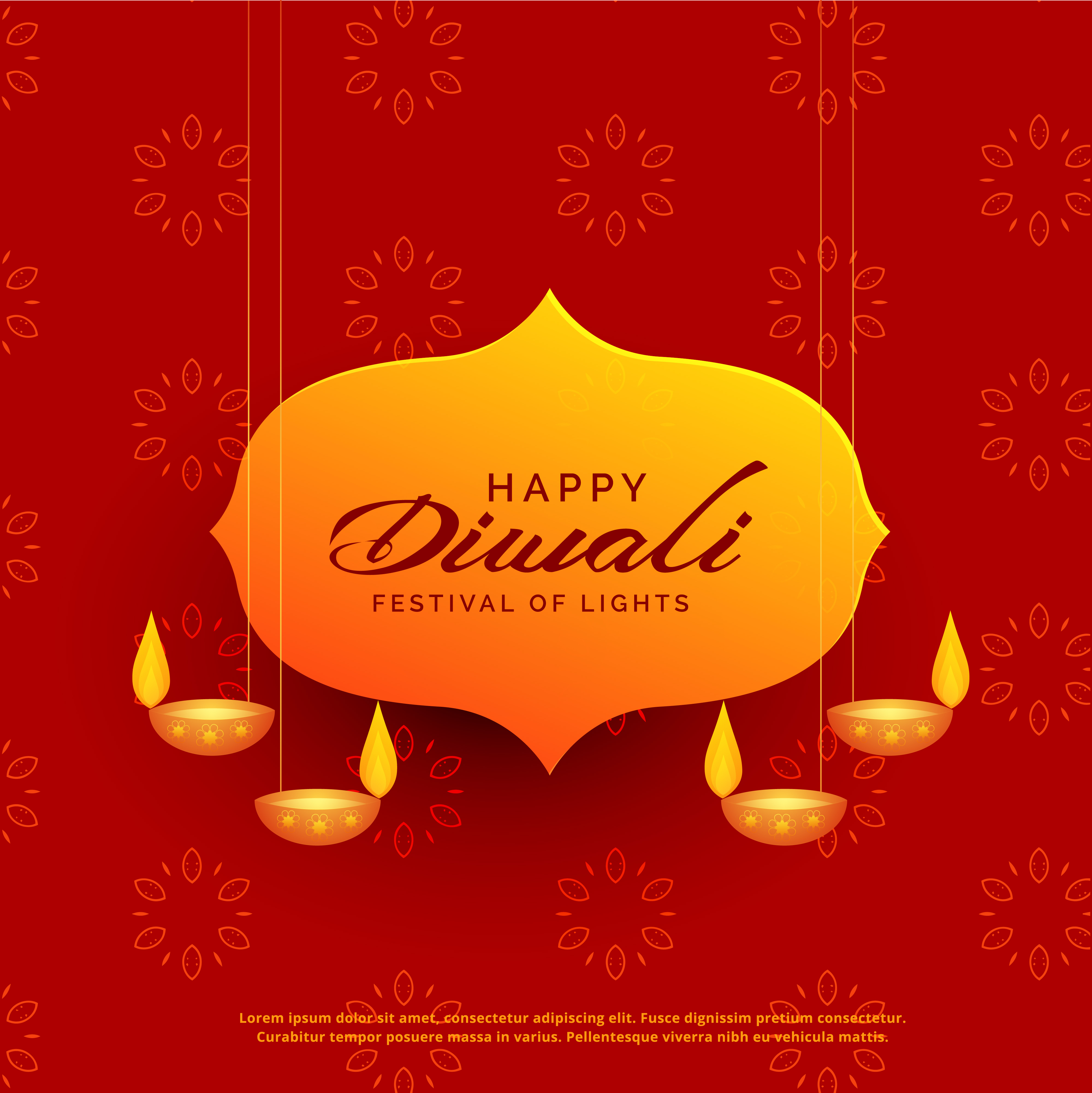 Indian Diwali Festival Greeting Card Design With Hanging Lamps