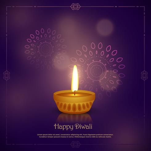 elegant happy diwali festival greeting design with ornament deco