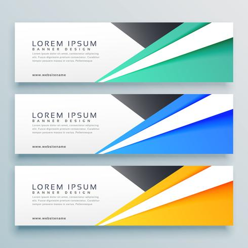 geometric horizontal web business banners set