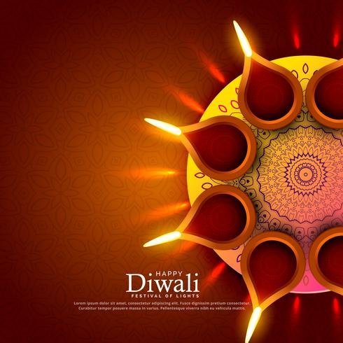 beautiful diwali festival diya greeting background design