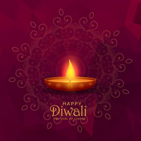illustration of burning diya happy diwali festival background
