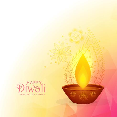 colorful diwali festival background design with burning diya and
