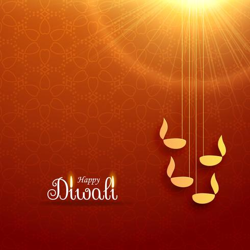 hindu diwali festival greeting card design with hanging lamp and