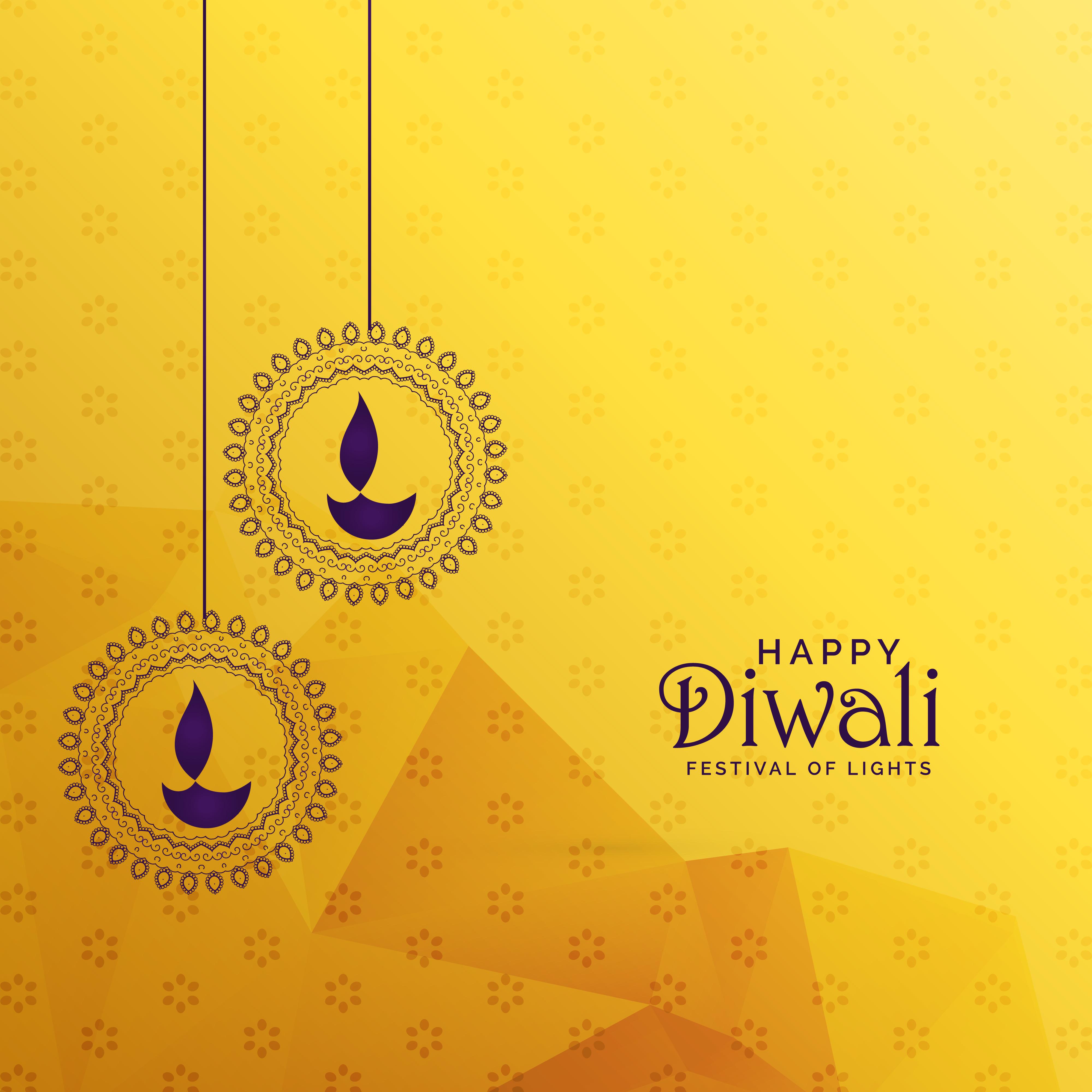 Premium Diwali Greeting Card Design With Diya Decoration Download