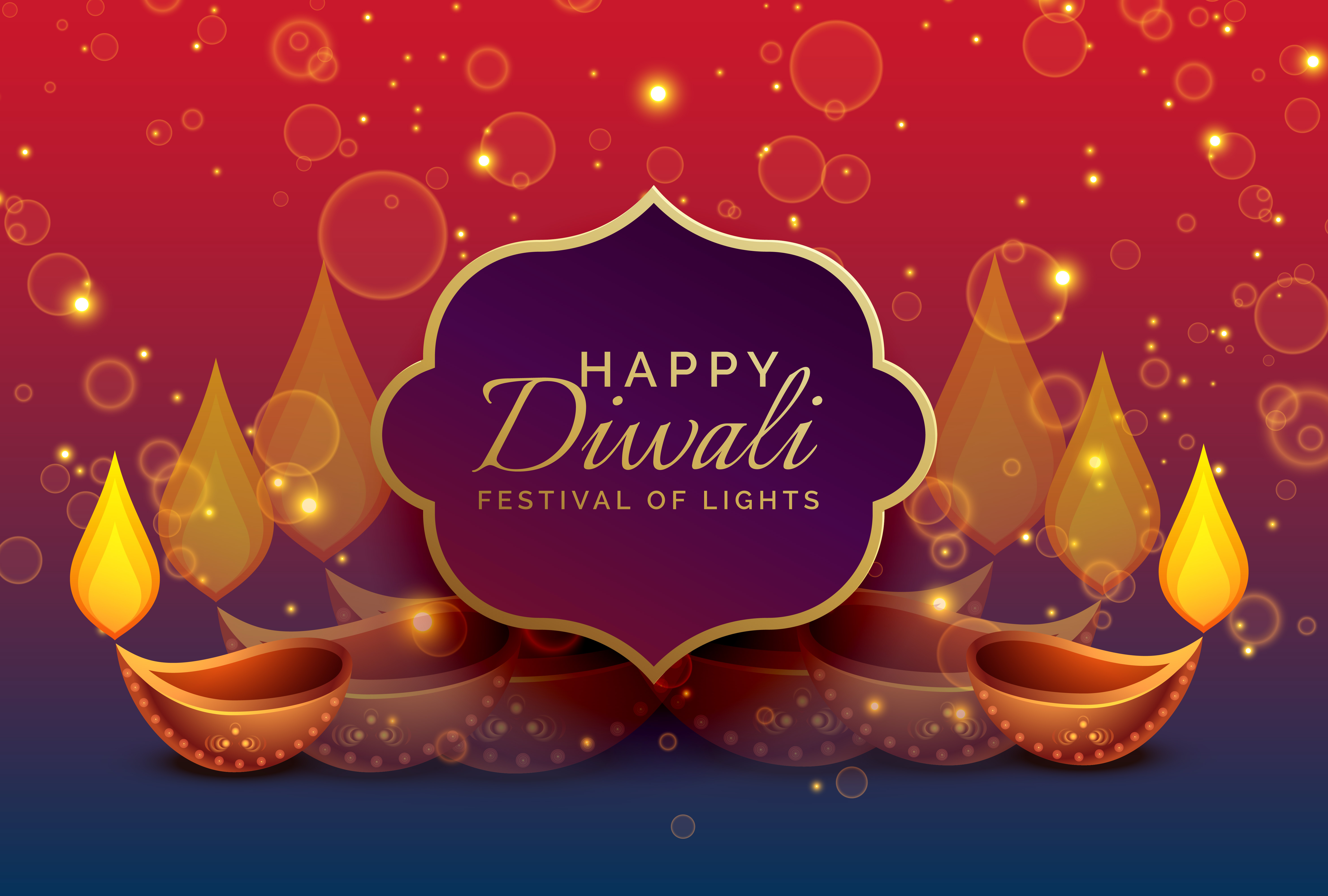 beautiful diwali greeting background with diya and
