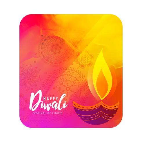 watercolor diwali greeting with artistic diya