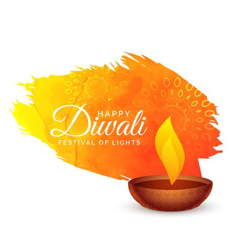 happy diwali festival background with paint stroke