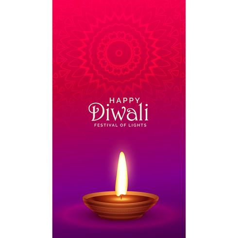 vibrant happy diwali festival greeting with diya lamp