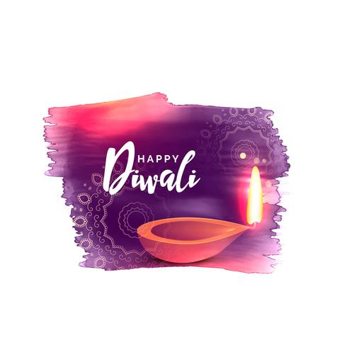 artistic happy diwali festival background with watercolor effect