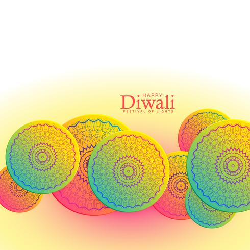 beautiful happy diwali festival background with mandala decorati