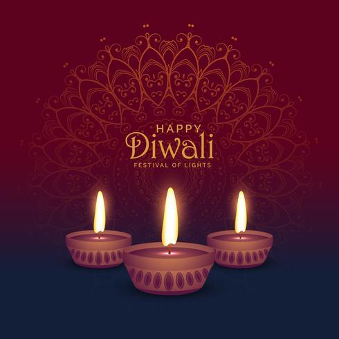 beautiful diwali greeting card design with three diya lamps