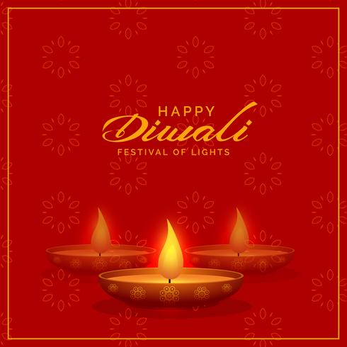red background with diwali diya design