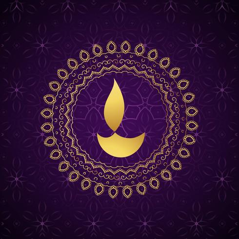 decorative golden diwali diya vector background