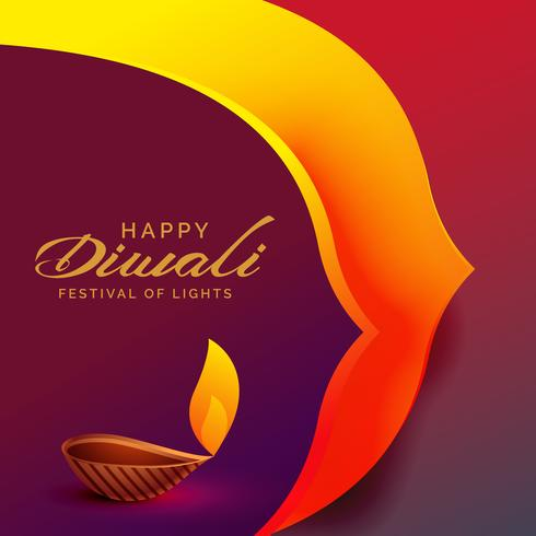 happy diwali festival greeting design with diya lamp