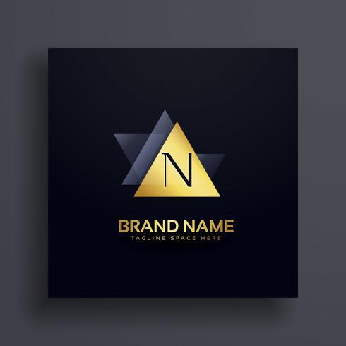 premiun letter N logo concept design in gold