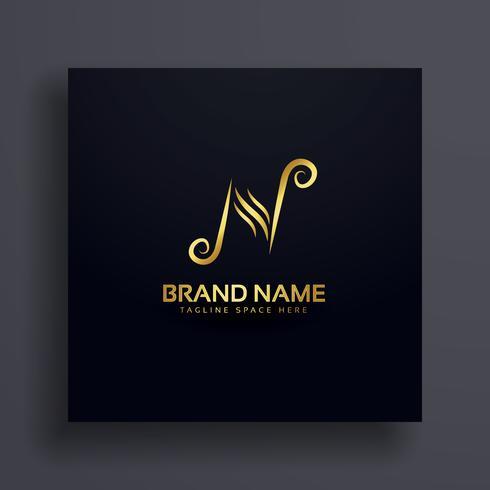 letter N logo design premium concept