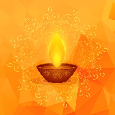 orange background with diwali festival diya and mandala decorati