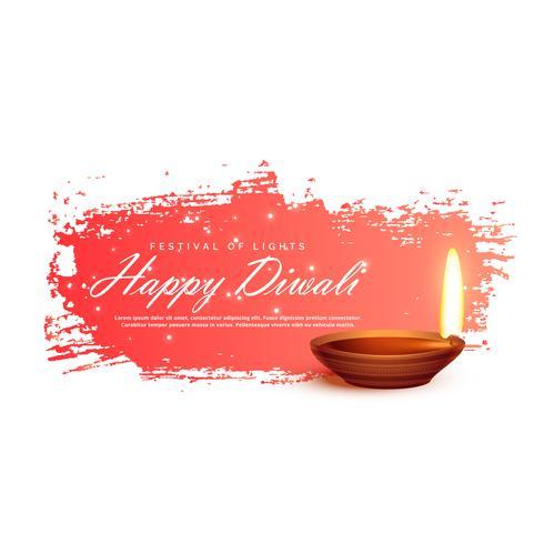 diwali festival banner with realistic vector diya