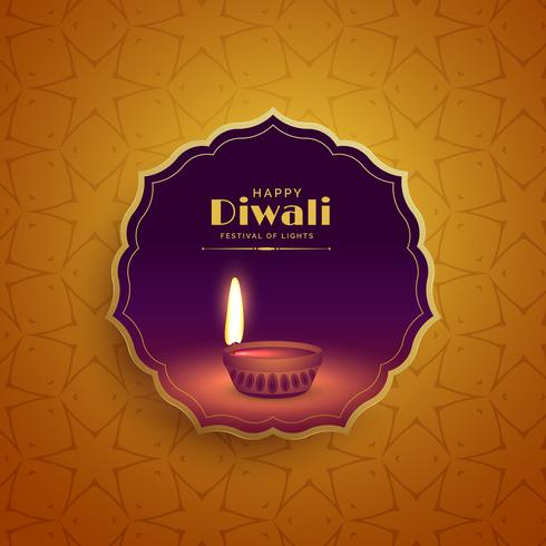 premium diwali festival greeting background with diya lamp