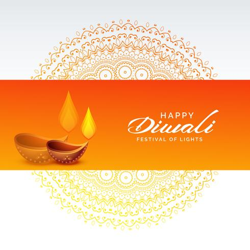 diwali festival background with diya lamp and mandala decoration
