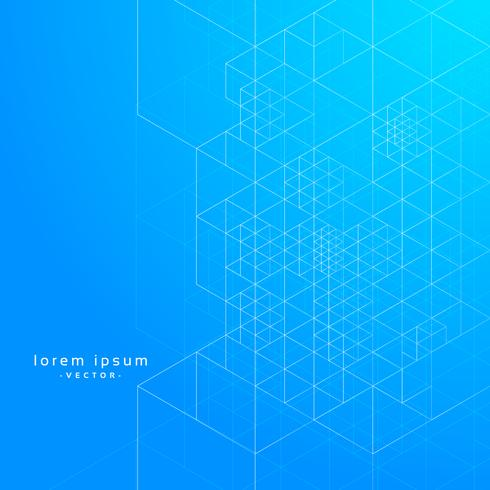 geometric lines blue print vector background