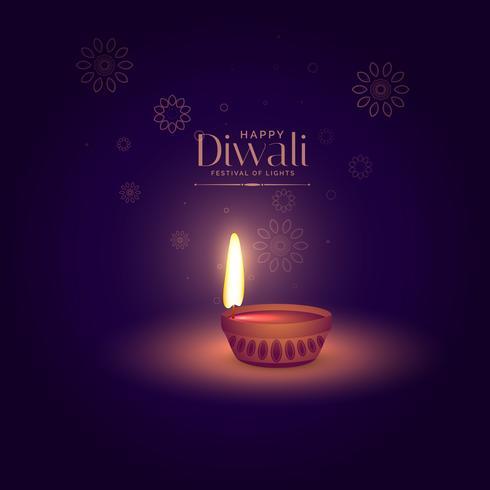 elegant happy diwali background with light focusing on diya