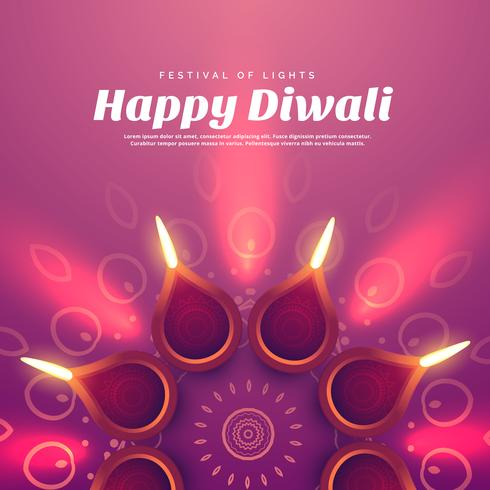 beautiful diwali illustration with burning diya lamp
