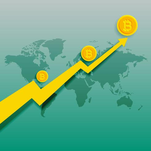 bitcoins upward trend rising graph vector background