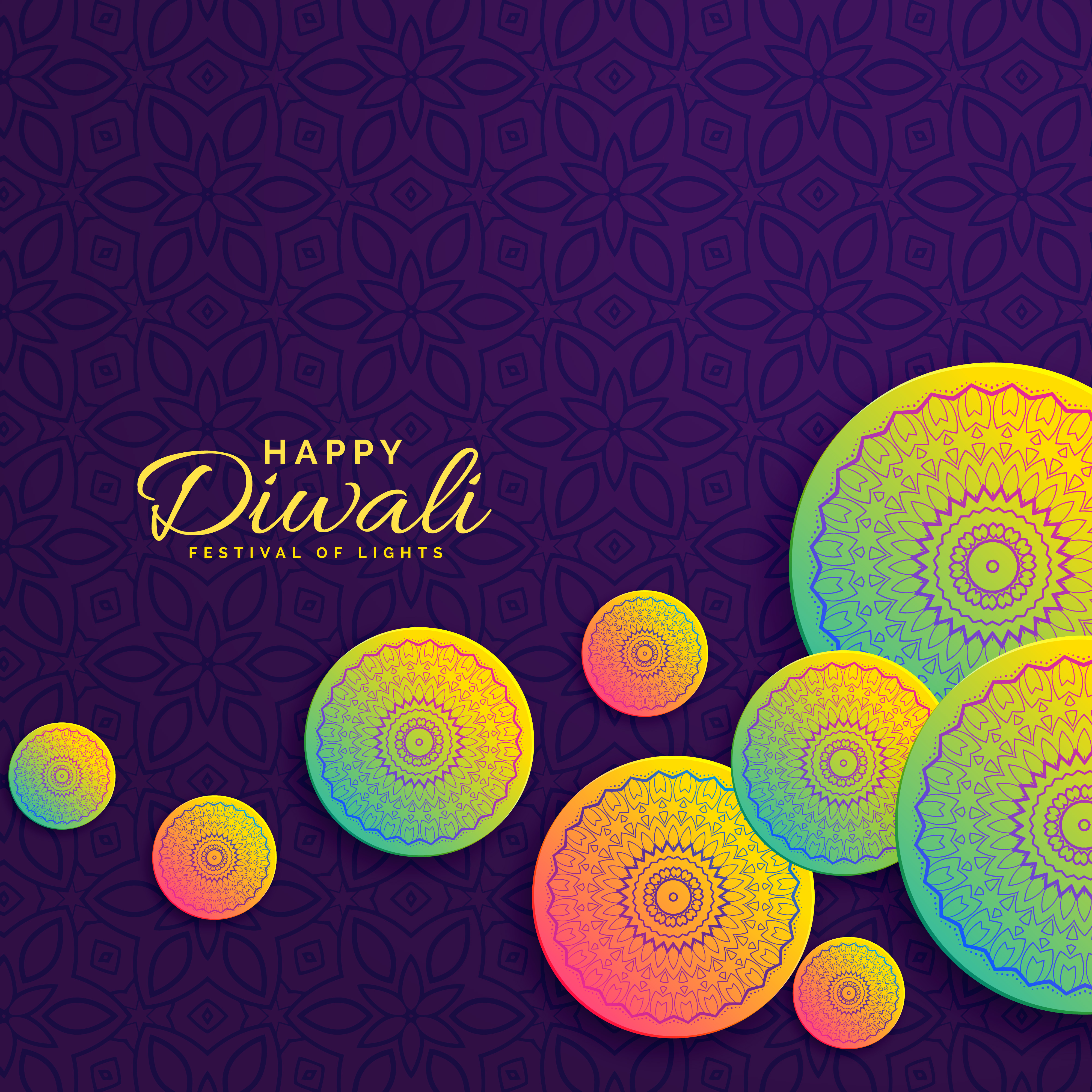 Creative Diwali Design Festival Greeting With Mandala Decoration