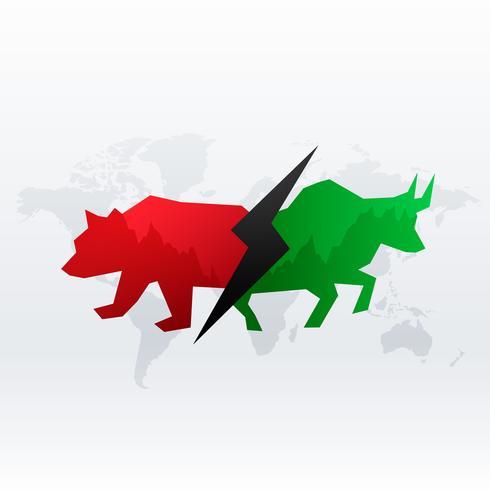 Diseño de concepto del mercado de valores con toro y oso con fines de lucro y lo