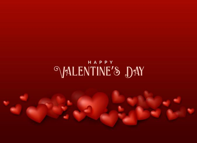 valentine's day red background with 3d hearts