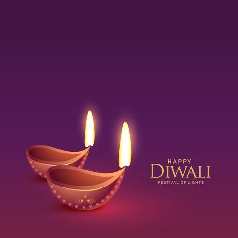 diwali diya on purple background for festival greeting