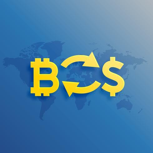 Bitcoins para intercambiar dólares en concepto de diseño mundial.
