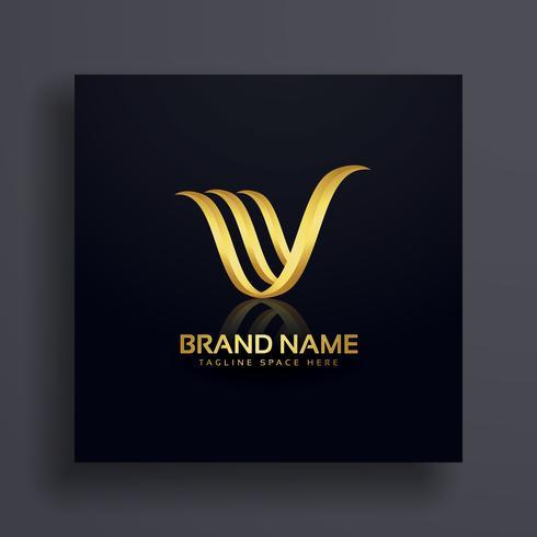 letter V creative premium golden logo design