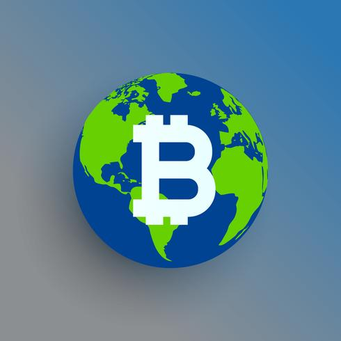 bitcoin symbol on world map