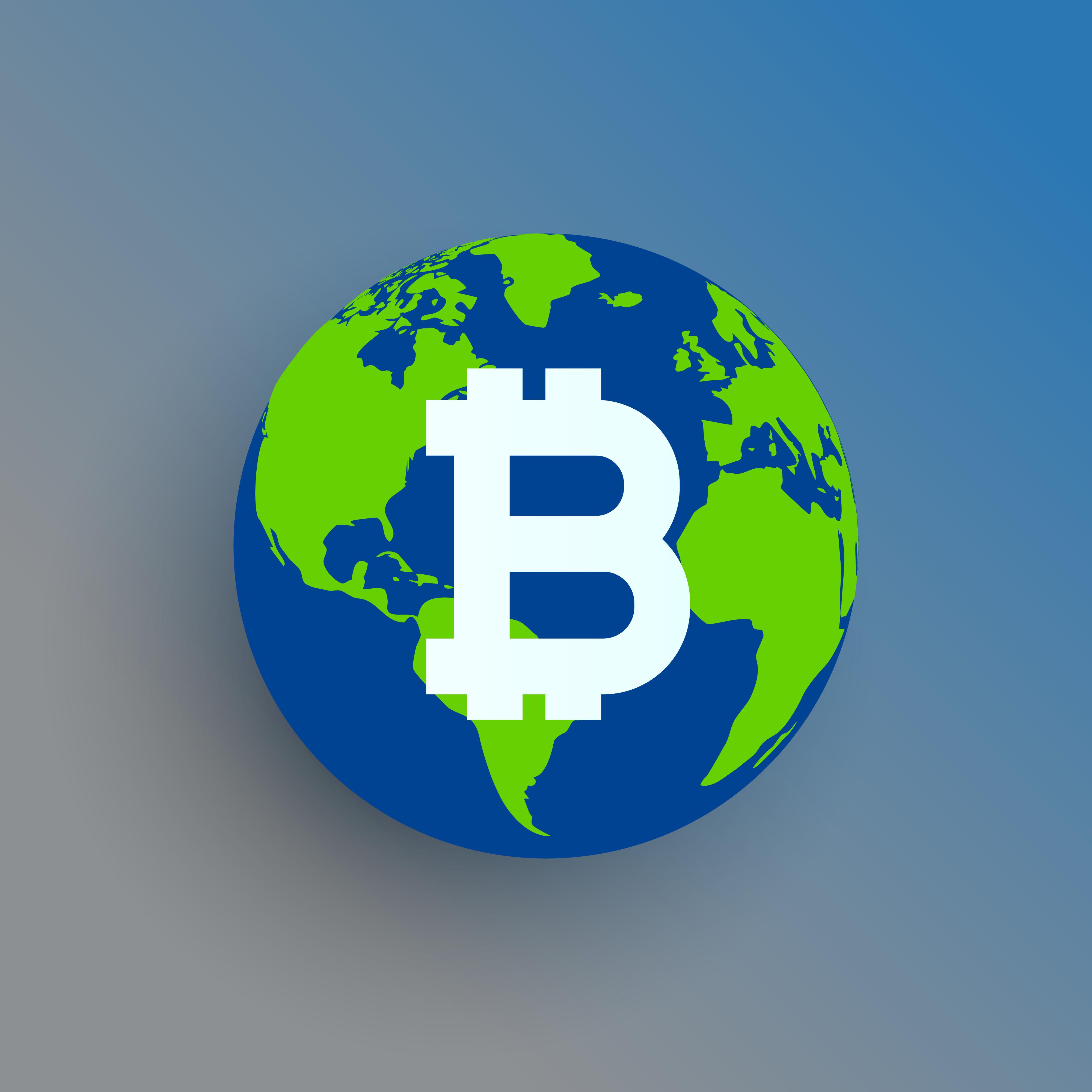 Bitcoin Symbol On World Map