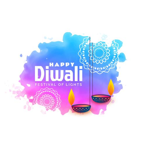 watercolor background for happy diwali festival with hanging diy
