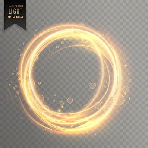 transparent light effect with circlular golden sparkles