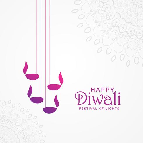 beautiful happy diwali card design with hanging diya lamps and m