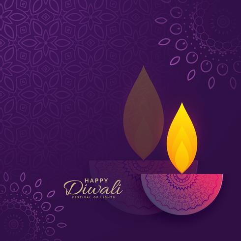 Diwali hälsningskortdesign med kreativ diya och prydnadsdekor