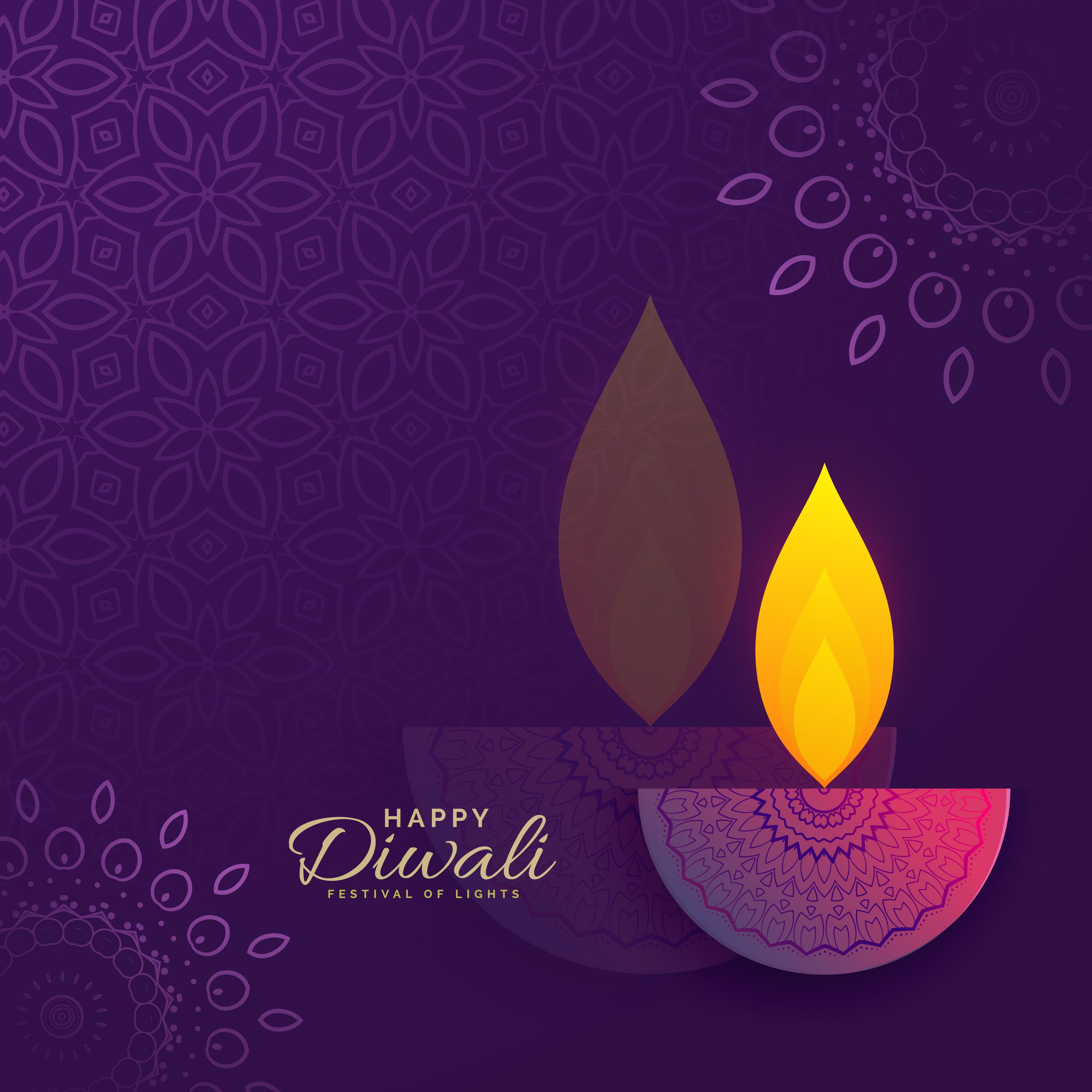 diwali greeting card design with creative diya and