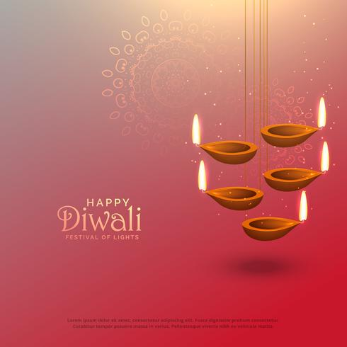 awesome diwali hanging lamps festival background design