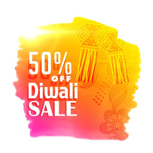 bright diwali sale poster design with hanging lamps